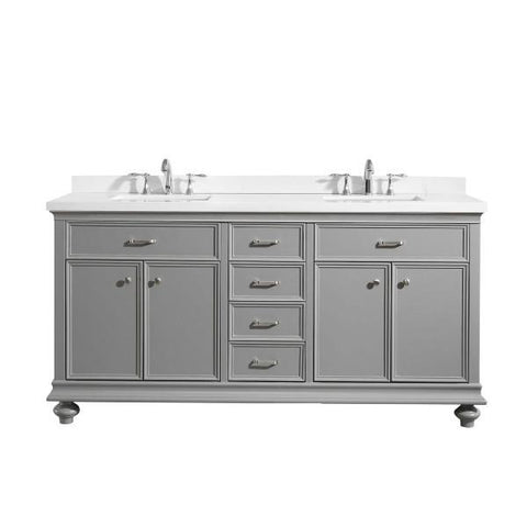 "Vinnova Charlotte 72"" Transitional Grey Double Sink Vanity 735072-GR-CQS-NM"