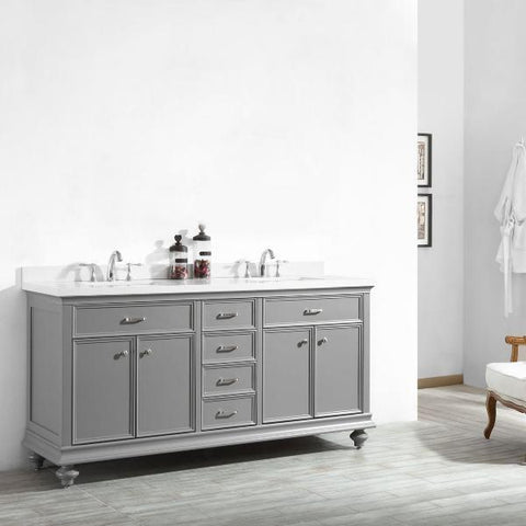 "Vinnova Charlotte 72"" Transitional Grey Double Sink Vanity 735072-GR-CQS-NM 735072-GR-CQS-NM"