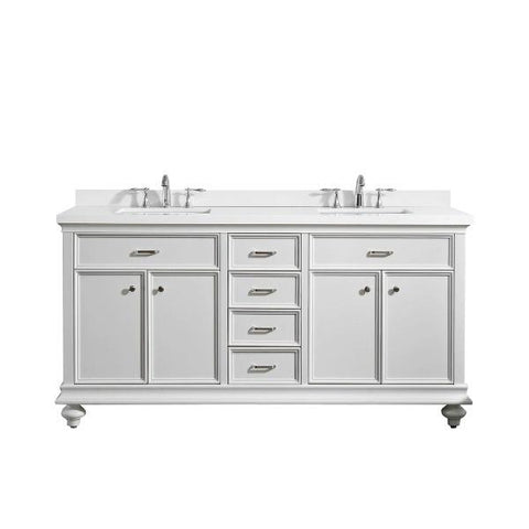 "Vinnova Charlotte 72"" Transitional White Double Sink Vanity 735072-WH-CQS-NM"