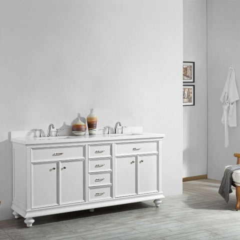 "Vinnova Charlotte 72"" Transitional White Double Sink Vanity 735072-WH-CQS-NM 735072-WH-CQS-NM"