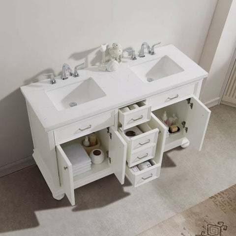 "Image of Vinnova Charlotte 72"" Transitional White Double Sink Vanity Set 735072-WH-CQS 735072-WH-CQS"