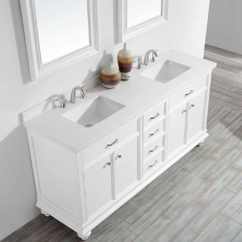 "Vinnova Charlotte 72"" Transitional White Double Sink Vanity Set 735072-WH-CQS 735072-WH-CQS"