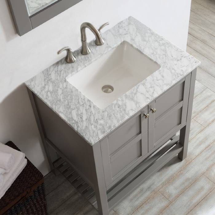 "Vinnova Florence 30"" Grey Transitional Single Sink Vanity Set w/ Carrara Marble Countertop"