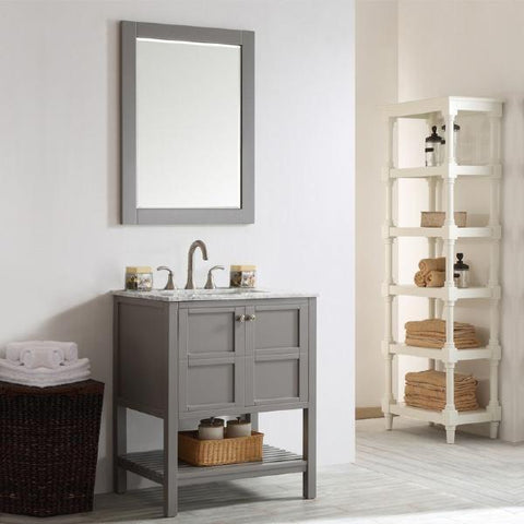 "Image of Vinnova Florence 30"" Grey Transitional Single Sink Vanity Set w/ Carrara Marble Countertop"