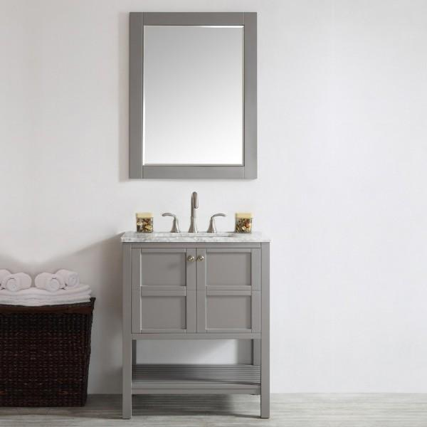 "Vinnova Florence 30"" Grey Transitional Single Sink Vanity Set w/ Carrara Marble Countertop 713030-GR-CA"