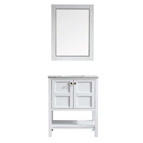 "Image of Vinnova Florence 30"" Transitional White Single Vanity Set w/ Carrara Marble Countertop 713030-WH-CA"