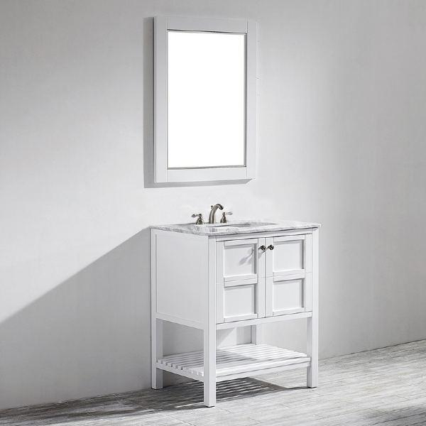 "Vinnova Florence 30"" Transitional White Single Vanity Set w/ Carrara Marble Countertop 713030-WH-CA"