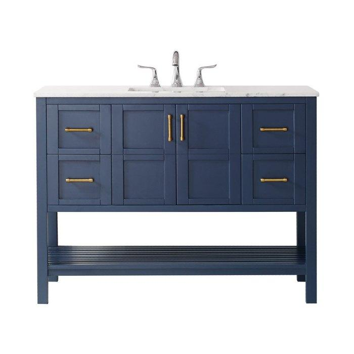 "Vinnova Florence 48"" Transitional Royal Blue Single Sink Vanity 713048-RB-CA-NM"