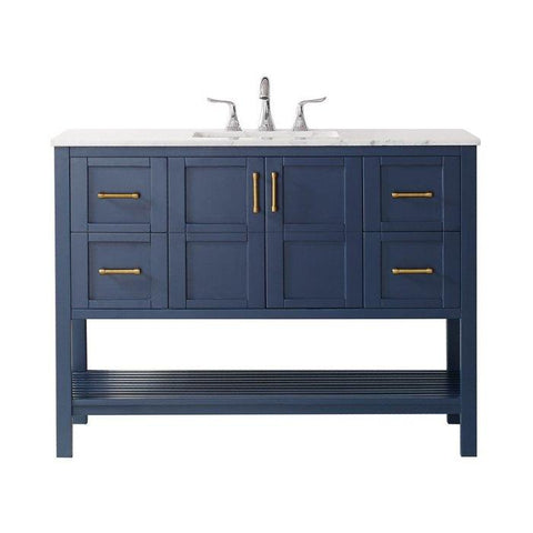 "Image of Vinnova Florence 48"" Transitional Royal Blue Single Sink Vanity 713048-RB-CA-NM"