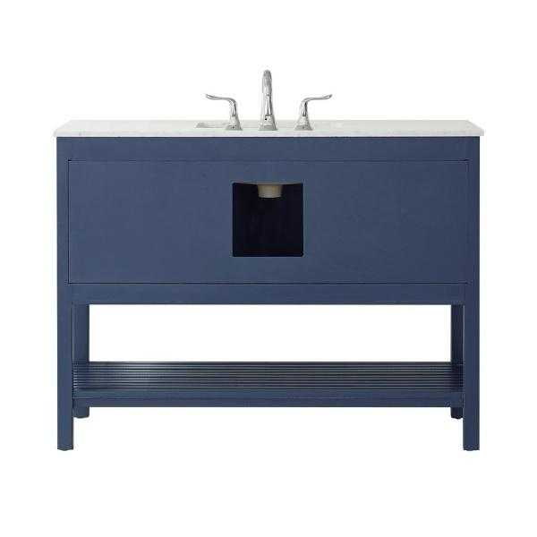 "Vinnova Florence 48"" Transitional Royal Blue Single Sink Vanity 713048-RB-CA-NM 713048-RB-CA-NM"