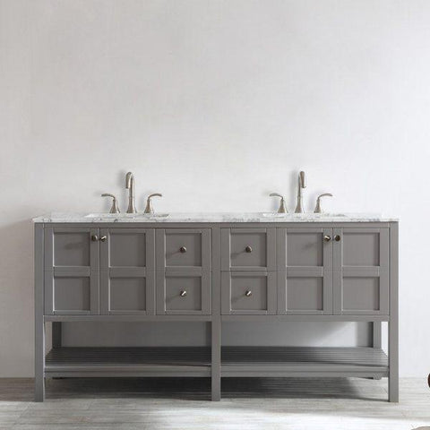 "Vinnova Florence 72"" Transitional Grey Double Sink Vanity Set 713072-GR-CA 713072-GR-CA"