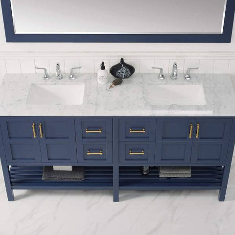 "Vinnova Florence 72"" Transitional Royal Blue Double Sink Vanity Set 713072-RB-CA 713072-RB-CA"