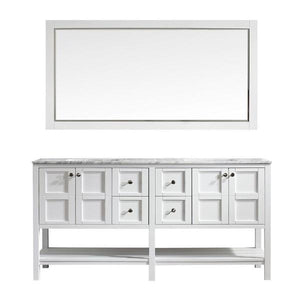 "Vinnova Florence 72"" Transitional White Double Sink Vanity Set 713072-WH-CA 713072-WH-CA"