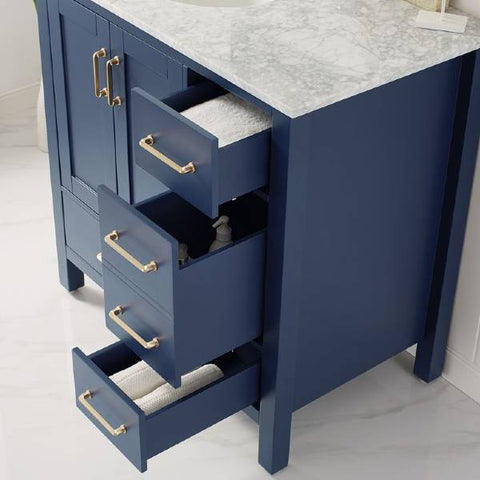 "Image of Vinnova Gela 36"" Modern Royal Blue Single Sink Vanity Set w/ Carrara Marble Countertop"