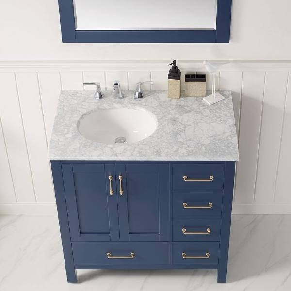 "Vinnova Gela 36"" Modern Royal Blue Single Sink Vanity Set w/ Carrara Marble Countertop"