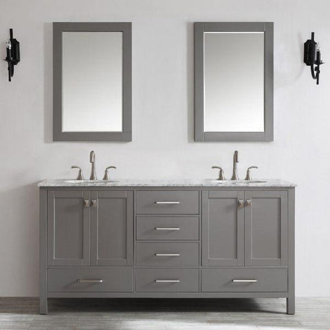 "Vinnova Gela 72"" Modern Grey Double Sink Vanity Set 723072-GR-CA"