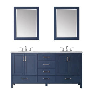 "Vinnova Gela 72"" Modern Royal Blue Double Sink Vanity Set 723072-RB-CA"