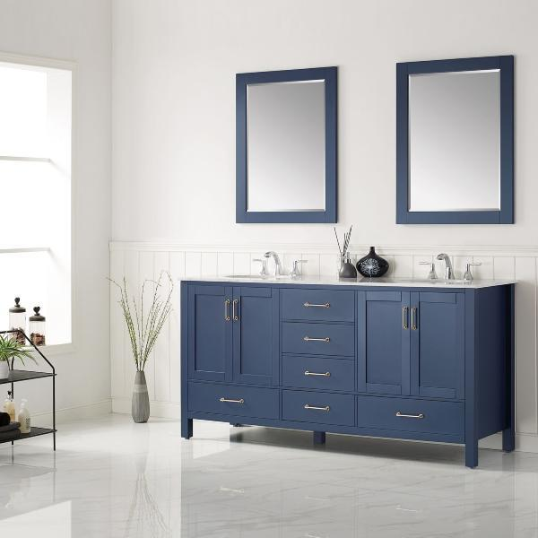 "Vinnova Gela 72"" Modern Royal Blue Double Sink Vanity Set 723072-RB-CA 723072-RB-CA"