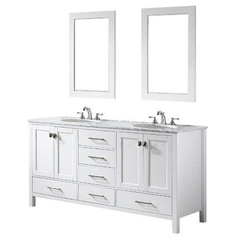 "Image of Vinnova Gela 72"" Modern White Double Sink Vanity Set 723072-WH-CA"