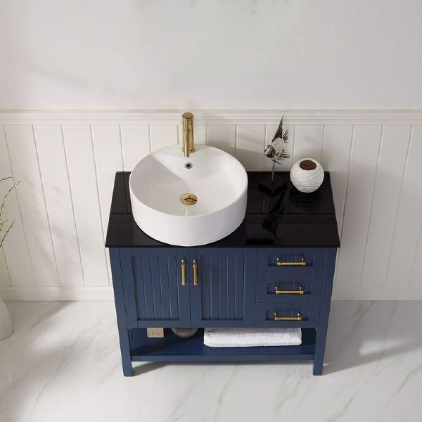 "Vinnova Modena 36"" Contemporary Royal Blue Single Sink Vanity with Glass Countertop"