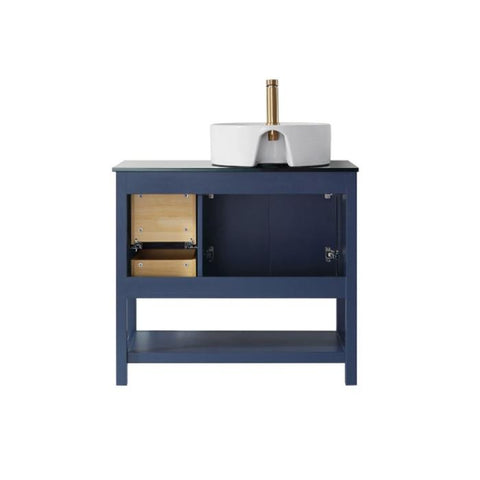 "Image of Vinnova Modena 36"" Contemporary Royal Blue Single Sink Vanity with Glass Countertop 756036-RB-BG-NM"