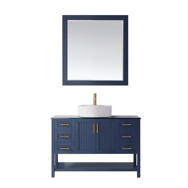 "Vinnova Modena 48"" Modern Royal Blue Single Sink Vanity Set 756048-RB-BG"