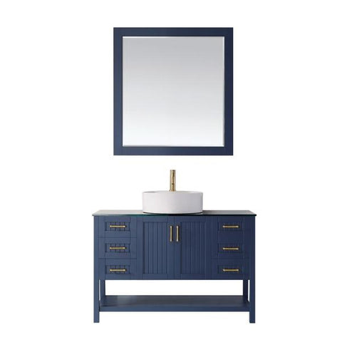 "Image of Vinnova Modena 48"" Modern Royal Blue Single Sink Vanity Set 756048-RB-BG"