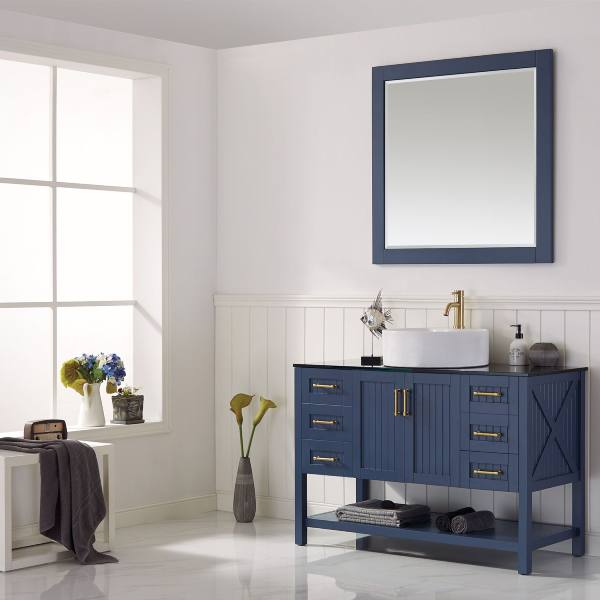 "Vinnova Modena 48"" Modern Royal Blue Single Sink Vanity Set 756048-RB-BG 756048-RB-BG"