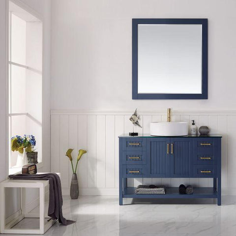 "Image of Vinnova Modena 48"" Modern Royal Blue Single Sink Vanity Set 756048-RB-BG 756048-RB-BG"