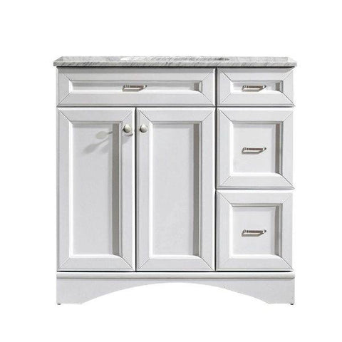 "Image of Vinnova Naples 36"" Transitional White Vanity w/ Carrara White Marble Countertop"