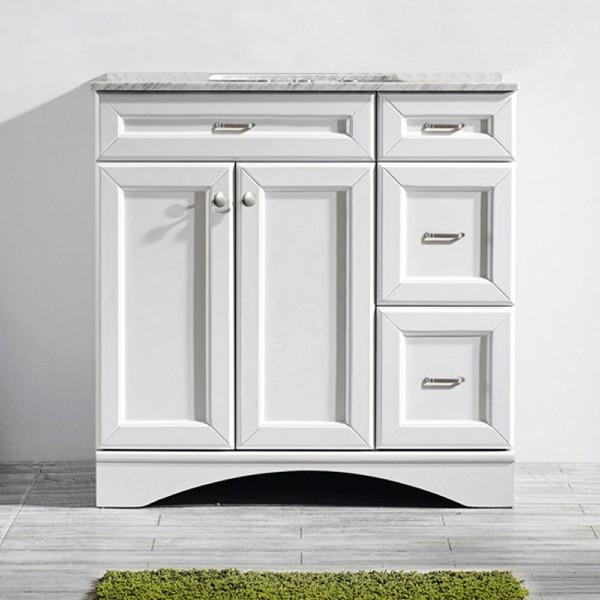 "Vinnova Naples 36"" Transitional White Vanity w/ Carrara White Marble Countertop"