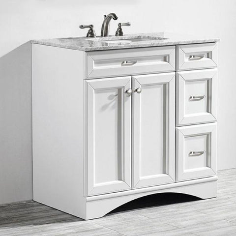 "Image of Vinnova Naples 36"" Transitional White Vanity w/ Carrara White Marble Countertop 710036-WH-CA-NM"