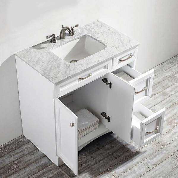 "Vinnova Naples 36"" Transitional White Vanity w/ Carrara White Marble Countertop 710036-WH-CA-NM"
