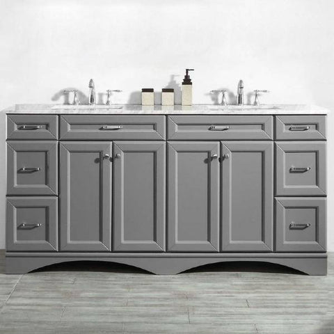 "Vinnova Naples 72"" Transitional Grey Double Sink Vanity 710072-GR-CA-NM"