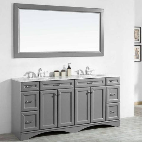 "Vinnova Naples 72"" Transitional Grey Double Sink Vanity Set 710072-GR-CA"