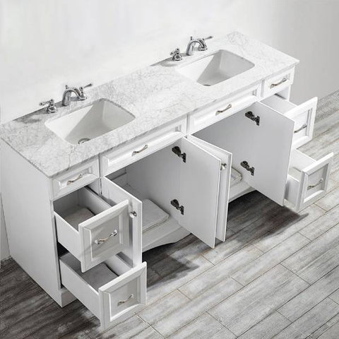 "Vinnova Naples 72"" Transitional White Double Sink Vanity 710072-WH-CA-NM 710072-WH-CA-NM"