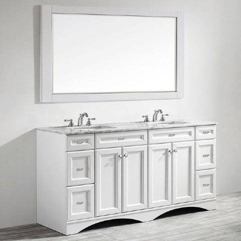 "Vinnova Naples 72"" Transitional White Double Sink Vanity Set 710072-WH-CA"