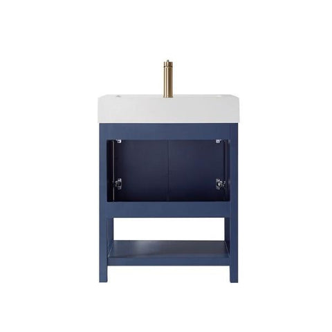 "Image of Vinnova Pavia 28"" Modern Royal Blue Single Sink Vanity Set with Acrylic under-mount Sink 755028-RB-WH"