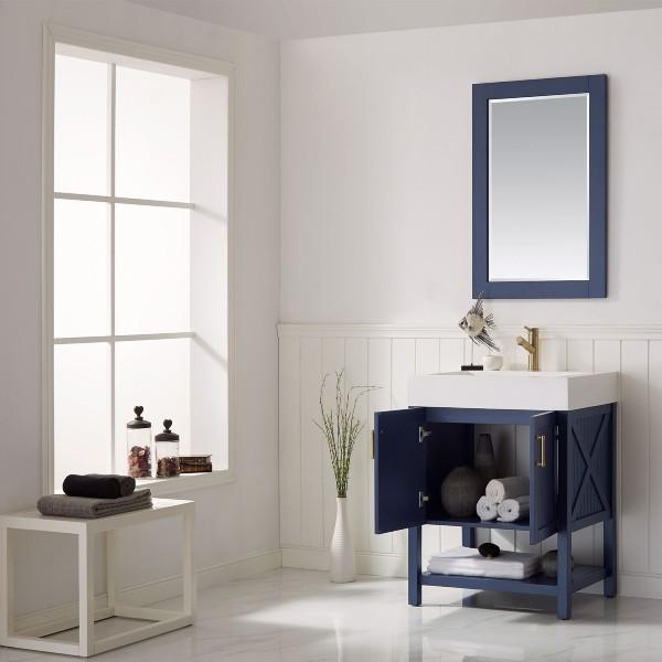 "Vinnova Pavia 28"" Modern Royal Blue Single Vanity Set with Acrylic under-mount Sink"