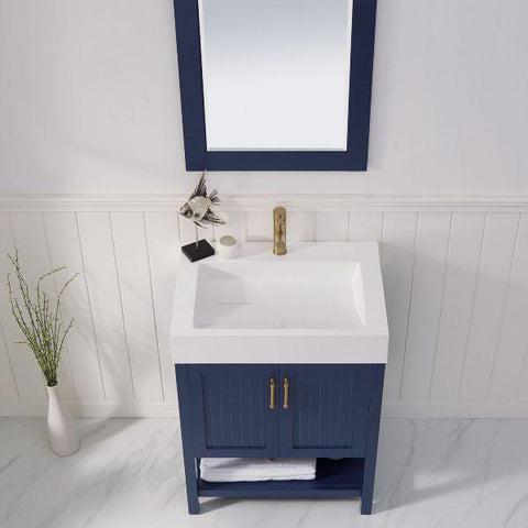 "Image of Vinnova Pavia 28"" Modern Royal Blue Single Vanity Set with Acrylic under-mount Sink"