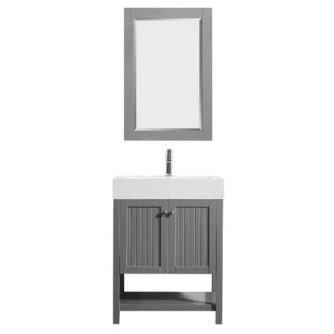 "Image of Vinnova Pavia 28"" Modern Single Vanity Set in Grey with Acrylic under-mount Sink"