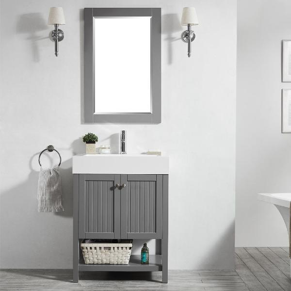 "Vinnova Pavia 28"" Modern Single Vanity Set in Grey with Acrylic under-mount Sink 755028-GR-WH"