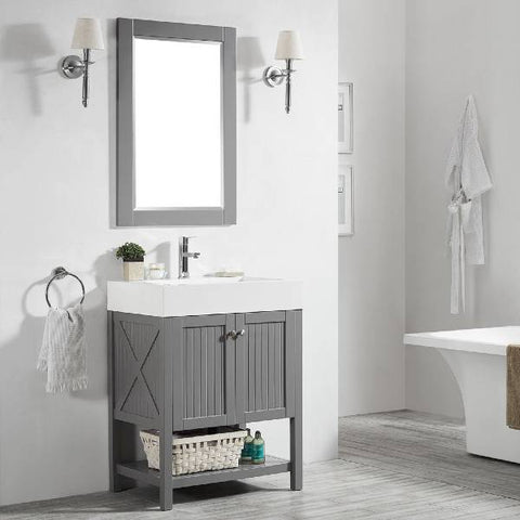 "Image of Vinnova Pavia 28"" Modern Single Vanity Set in Grey with Acrylic under-mount Sink 755028-GR-WH"