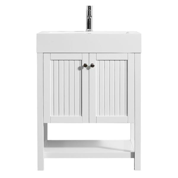 "Vinnova Pavia 28"" Modern White Single Vanity w/ Acrylic under-mount Sink"