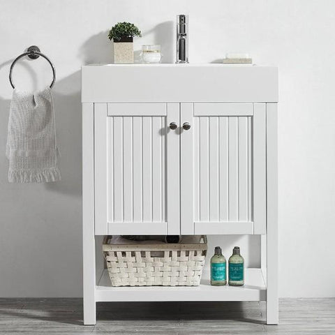 "Image of Vinnova Pavia 28"" Modern White Single Vanity w/ Acrylic under-mount Sink"