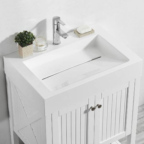 "Image of Vinnova Pavia 28"" Modern White Single Vanity w/ Acrylic under-mount Sink 755028-WH-WH-NM"