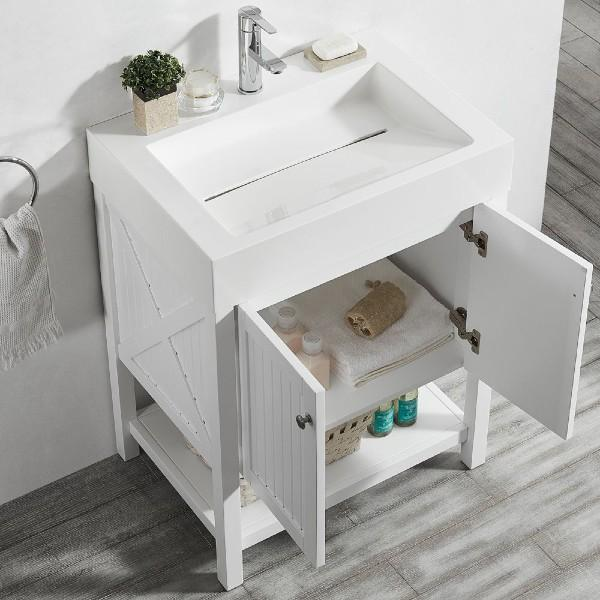 "Vinnova Pavia 28"" Modern White Single Vanity w/ Acrylic under-mount Sink 755028-WH-WH-NM"