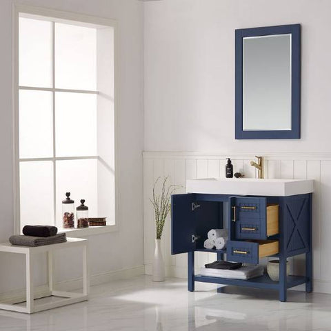 "Image of Vinnova Pavia 36"" Contemporary Royal Blue Single Vanity Set w/ Acrylic under-mount Sink 755036-RB-WH"