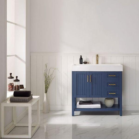 "Image of Vinnova Pavia 36"" Contemporary Royal Blue Single Vanity with Acrylic under-mount Sink"