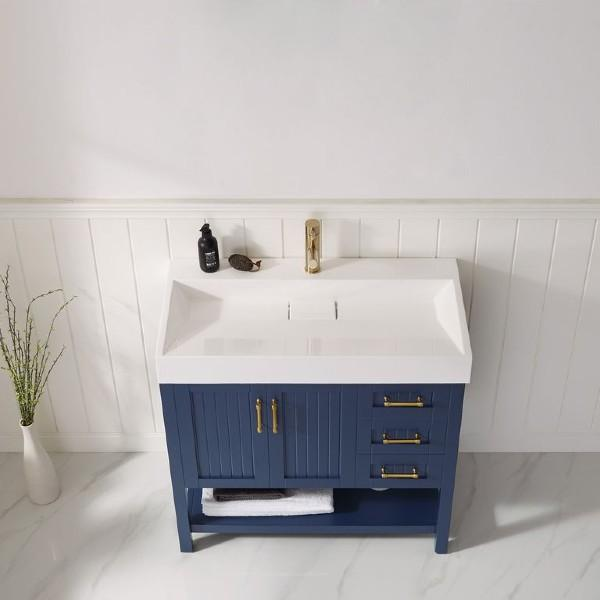 "Vinnova Pavia 36"" Contemporary Royal Blue Single Vanity with Acrylic under-mount Sink"